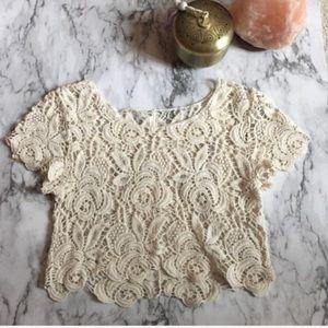 • Creme Crochet Crop Top •